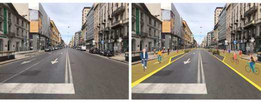Plans for Corso Buenos Aires before and after the Strade Aperte project. The Guardian, April 21, 2010